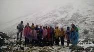 Trekkers wearing ponchos on day 2